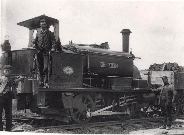 The similarities between all of the 0-4-0 locomotives is evident in this photograph of BIRKENHEAD; taken at Haddenham on the Great Western & Great Central Joint Railway circa 1903. She was built by Hudswell Clarke & Co. (No. 650) that year and went new to Louis P. Nott who built this section of the railway.