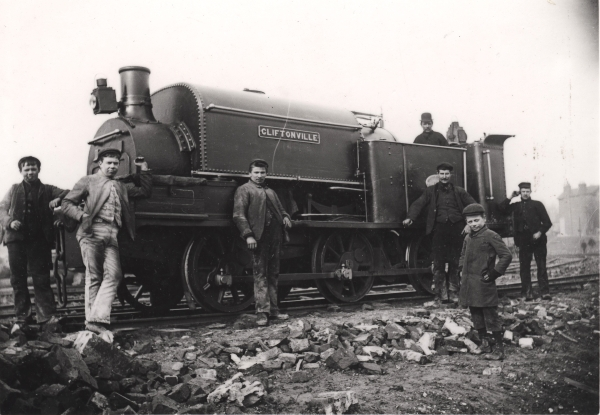 Hunslet built 0-6-0 saddletank, CLIFTONVILLE, No. 165 of 1876. The locomotive was in use by J. T. Firbank on the Canfield Place to Marylebone section and, like many of its companions, it had been cut down to fit in the restricted space of the tunnel pilot bores so common on this section.