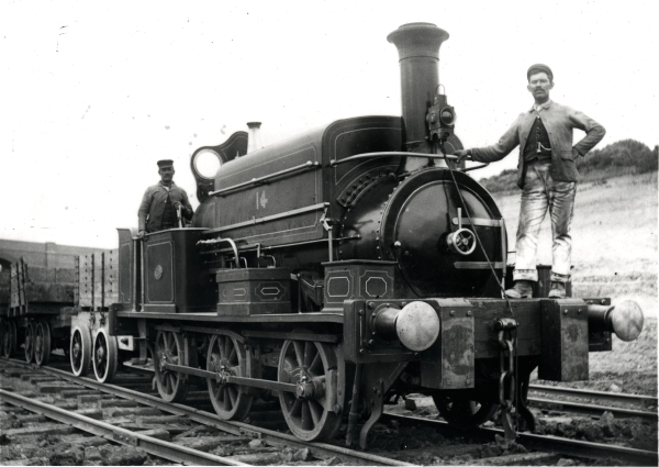 Manning Wardle & Co. 0-6-0 saddletank, No. 1153, built in 1890. The locomotive was owned by the contractor Topham, Jones & Railton and given the number '14'. It is seen near Ashlawn Road, Rugby circa 1897.