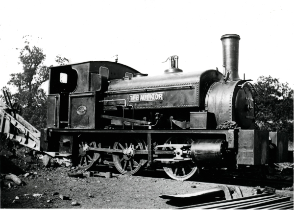One of the few outside-cylinder fitted 0-6-0 saddletanks used on the 'London Extension' project. This one is THE AUDITOR, built by the Black Hawthorn Co. Ltd of Newcastle-upon-Tyne. Note the locomotive's large cylinders and prominent safety valve.