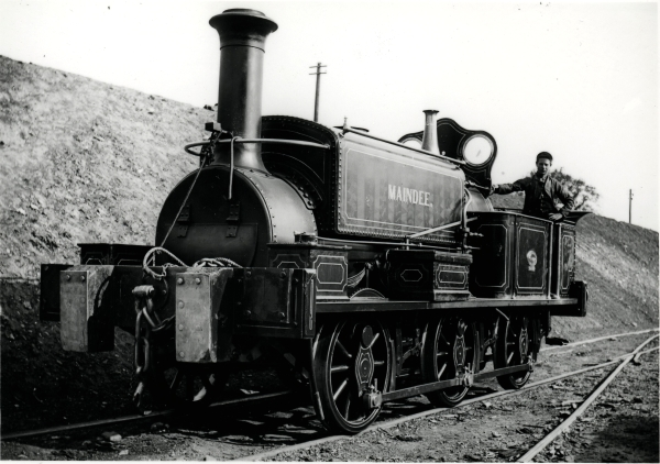 Manning Wardle & Co. built 'K' class 0-6-0 saddletank, MAINDEE, No. 488 built in 1874. MAINDEE was in the employment of Logan & Hemingway (contractors) and was photographed on 22 May, 1897.
