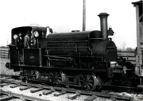Another Manning Wardle 'M' class, this one being PENARTH, No. 840 built in 1882. The photograph was taken near Ashby Magna on Topham, Jones & Railton's Aylestone to Rugby contract. Note the wheel washing equipment fed from the main water tank.