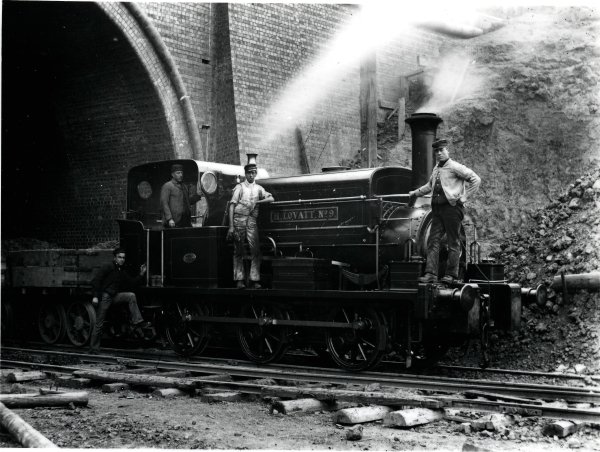 Working on another contract! H. LOVATT No. 9 (Manning Wardle & Co. 'L' class 0-6-0 saddletank, No. 1215 of 1892) is pictured working on the Midland Railway during the Knighton Tunnel widening scheme in Leicester. The locomotive's name gives a clue as to the contractor was.