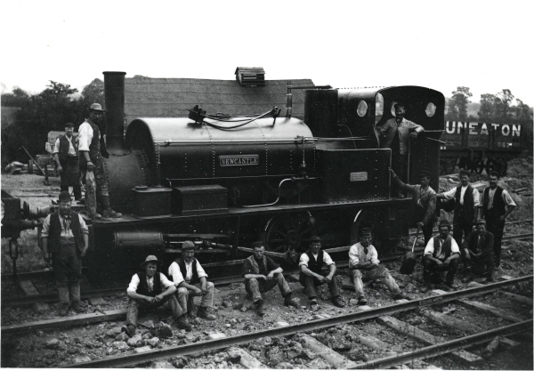 Another of Walter Scott & Co.'s yards, this one at Culworth, Northamptonshire - complete with locomotive and locomotive shed. The engine is NEWCASTLE, a Hudswell Clarke & Co. 0-6-0 saddletank of 1882 with outside cylinders.