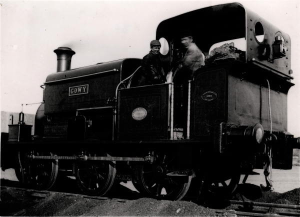 GOWY - a Manning Wardle 'K' class, No. 1119 of 1889, pictured near Ashby Magna. The locomotive had been built for T. A. Walker of Ellesmere Port and had previously worked on the Manchester Ship Canal construction. The sanding pipes can be clearly seen by the front and rear wheels.
