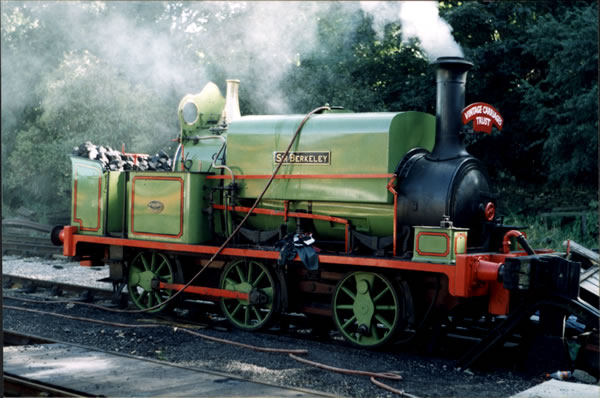 The only surviving contractors' locomotive is SIR BERKELEY, seen here in Cranford Ironstone Quarry livery (derogatorily nicknamed 'Kermit Green') at Ingrow on the Keighley & Worth Valley Railway during 1998. Note the missing front coupling rod.