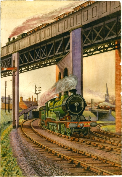 This water colour shows that S. W. A. Newton was as skilful with the brush as he was with a camera. Completed in 1919, it is a colourful depiction of the railway congestion that existed at Horns Bridge in Chesterfield. At the centre - true to his own obsession - is the Great Central's 4-4-0 Class 11E 'Director' locomotive No. 434 THE EARL OF KERRY. Crossing the girder bridge on the right is a Midland Railway loco, whilst another Great Central engine hauls a train across the girder viaduct which bore the company's Chesterfield to Lincoln line.