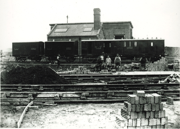 View of the locomotive servicing facilities nearing completion at Leicester. The main locomotive shed would have been behind the photographer and slightly to the left.