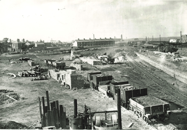 A very busy scene at the construction site of Loughborough Central Station, sometime around 1897. Little Moor Lane is to the right of the picture