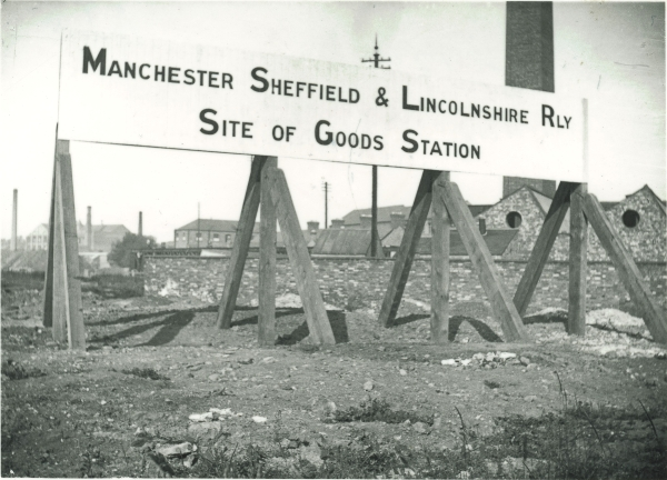 This sign marks the site of the Manchester, Sheffield & Lincolnshire Railway's Goods Station in Leicester, circa 1896. It was signs such as this one that inspired Newton to photograph the railway as it was built through Leicester. Whether he originally intended to go beyond Leicester is unknown, but he did, and eventually photographed the entire route.