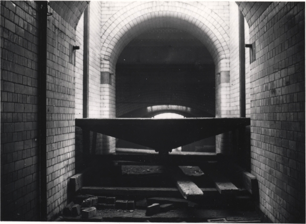The subway and hydraulic luggage lift nearing completion at Leicester Central on 28th January 1899. The walls were lined with glazed bricks which reflected whatever light was provided, thus adding to the illumination.