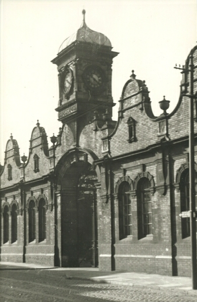 The clock tower and gabled brick frontage of Leicester Central station, photographed in 1951. Although, architecturally, the tower was often thought to be too large when compared with the rest of the fa'ade, both it and the gables were a fine example of decorative Victorian style.
