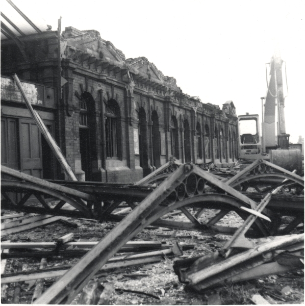 Taken in December 1970, this is a poignant view across the twisted Victorian ironwork of Leicester Central, lying beside the platform buildings at the southern end of the station. Within weeks of this photograph, the ground had been levelled completely.