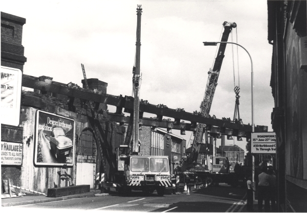 The removal of the Great Central's Northgate Street bridge in July 1981 required two cranes, the closure of the road, and a lot of gas cutting equipment. By the time this photograph had been taken, only the principal girders remained.