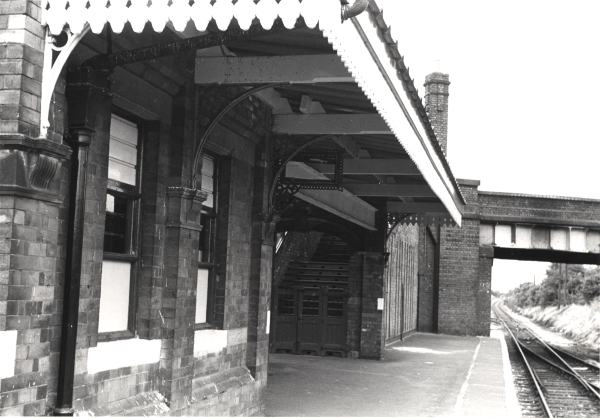 Looking north from the platform of Quorn & Woodhouse Station, photographed in June 1975.
