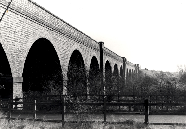 The large blue brick viaduct that carried the Last Main Line across the River Soar at Loughborough Meadow. As the river marks the county boundary, the northern section of the viaduct lies in Nottinghamshire, whilst the southern end (seen here) is in Leicestershire.