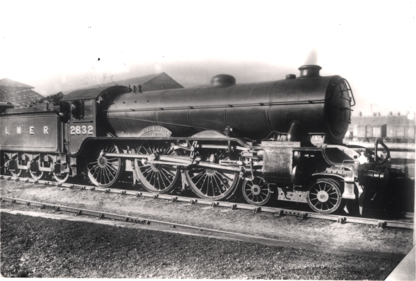 Photographed at the LNER station at Belgrave Road, Leicester, this is the 4-6-0 main line locomotive BELVOIR CASTLE, an early example of the B17 Class engines designed by Sir Nigel Gresley which were built between 1929-1937.