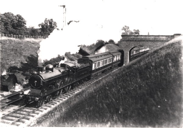 4-4-0 Express locomotive in a cutting near Birstall