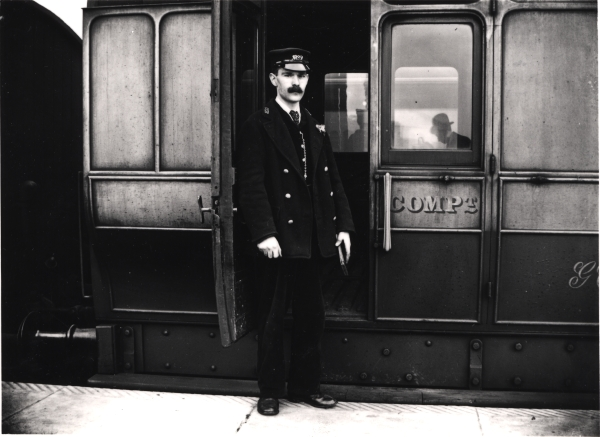 This is George Elliot, a Great Central passenger guard photographed at Leicester Central around 1900. After the navvies work was done and the communities of labourers began to disperse, men and women living along the route of the Last Main Line must have greeted the Railway as a welcome source of employment.