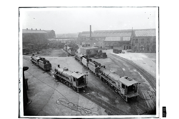 The firm of Beyer Peacock & Co. had its famous works in Gorton, Manchester - close to the Great Central's own locomotive works. Beyer Peacock built locomotives to order, mainly for the export market, but also for service in Britain. Here we can see part of the works with a number of newly built locomotives destined for shipment oversees.