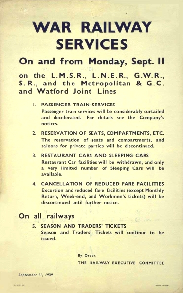 Issued on 11th September 1939, just days after the start of the Second World War, this poster details the considerable changes that were to be made right across Britain's railway network. Amongst other amendments to existing services, from this point passengers were unable to reserve seats and enjoy reduced fares and organised excursions.