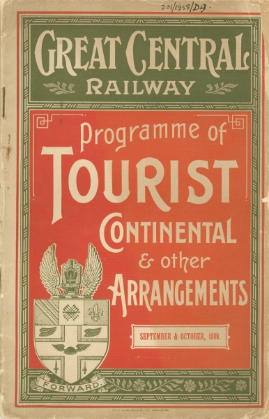 The front cover of a tourist programme produced by the Great Central Railway. In addition to their through routes to Scotland, the East Coast and the Lake District, the booklet contains details of the many journeys to the Continent. Note the prominent crest on the cover's bottom left corner.