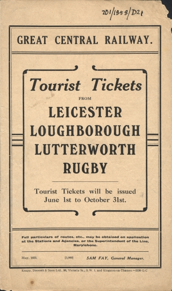 The front cover of a Great Central Railway leaflet produced in May 1922. Inside are the prices of the company's tourist tickets, available for journeys from Leicester, Loughborough, Lutterworth and Rugby to towns and cities all over the country.