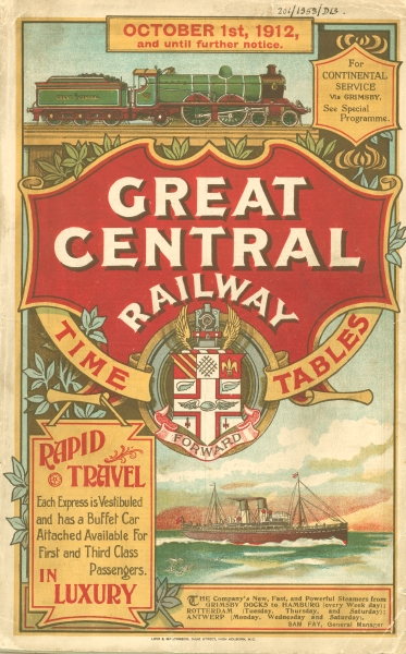 This fine illustration comes from the front cover of a Great Central Railway timetable booklet produced for October 1912. Notice that almost half of the page is devoted to promoting the company's continental service. Travelling from Grimsby, a port on the eastern edge of the Great Central rail network, passengers could board 'new, fast, and powerful steamers' to Hamburg, Rotterdam and Antwerp. During and after the First World War, the design of these timetable booklets became a lot simpler, and far less emphasis was placed on their artistic decoration.