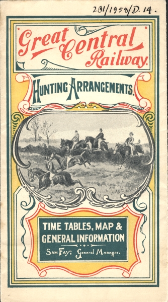 The cover of a leaflet produced by the Great Central Railway in 1902 entitled 'Hunting Arrangements'.