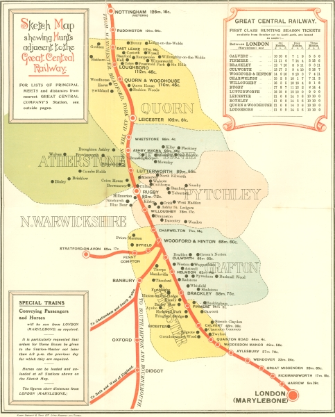 A coloured sketch map leaflet produced by the Great Central Railway in 1902 entitled 'Hunting Arrangements'. It shows the route of the London Extension as it passes through the boundaries of six fox hunts. A