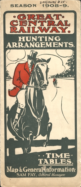 Leaflet produced by the Great Central Railway for the 1908-09 fox hunting season.