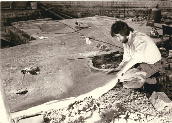Could there be more archaeology like this beneath Leicester Central? This 1976 photograph shows work underway with the move of the Blackfriars Pavement to the Jewry Wall Museum. Trainee conservator, Simon Aked, is seen making preparation's for the pavement's journey.