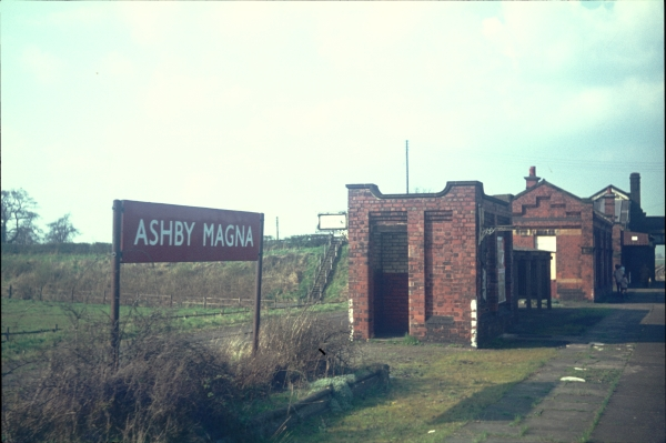 Most of the London Extension's intermediate stations closed in 1963/64 after stopping services on the route were withdrawn. Fortunately, Ashby Magna was one of the stations that remained open until the line closed completely in 1969. This photograph was taken that year and shows the station buildings as seen from the south. The building nearest the camera is the toilet block, while the waiting rooms and booking offices are beyond.