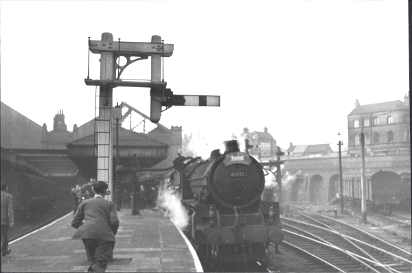 B1 Class 4-6-0, 61008 - KUDU, stands at Leicester Central Station in 1957, hauling an Ian Allen Publishing 'Trains Illustrated' special from Paddington to Doncaster.