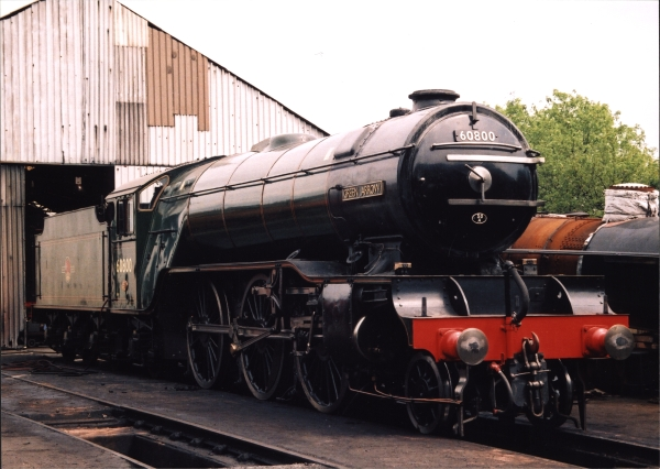 The National Railway Museum's flagship locomotive - pioneer V2 class 2-6-2, No. 60800 GREEN ARROW - stands outside Loughborough shed in the summer of 2002.