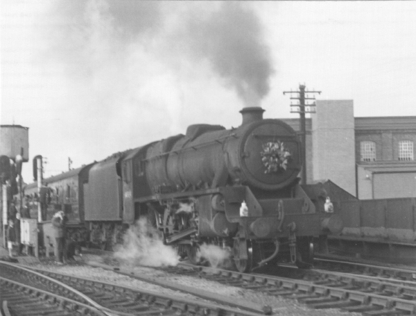 Ex-LMS Black 5, No. 44984,  leaves Leicester Central on the last through working to Marylebone - the 17.15 from Nottingham on the 3rd September 1966. To honour the occasion, a wreath was hung on the front of the locomotive's smokebox. This locomotive was a last minute replacement for another class member, hence No. 44984 was in a filthy external condition. However, it kept to time to London and also on the last working out of Marylebone to Manchester later that night.