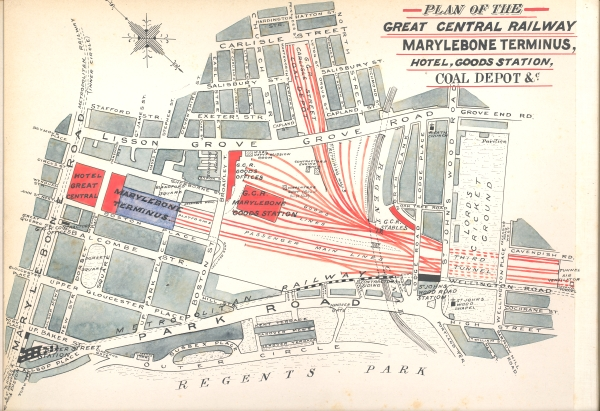 As a thank you to all of the contractors who had given him permission to photograph their works, S. W. A. Newton produced photographic albums of the railway construction as a gift for each contractor. Inside, Newton produced hand drawn maps of the contract limits which accompanied the photographs. This map is taken from the album for Contract No. 7 (Marylebone to Canfield Place) which was presented to J. T. Firbank who built that section of line.