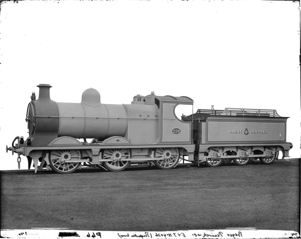 John G. Robinson's first design for the Great Central Railway was his 9J, 0-6-0 goods engine, which first appeared in 1901. In service, the 9J's quickly earned the nickname 'Pom-Poms' because the bark of their exhaust resembled the sound made by a quick-firing gun of that name. A number of this successful class were built by Beyer Peacock & Co. of Manchester, and this image is the official Beyer Peacock works photograph of Class 9J, No. 228 - the locomotive being painted in grey for the purpose of photography.