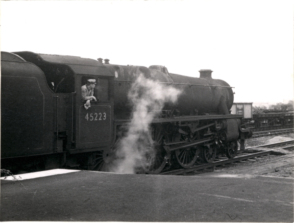 Designed by the LMS's William Stanier, this locomotive, No. 45223, is seen about to depart from Whetstone in November 1962.