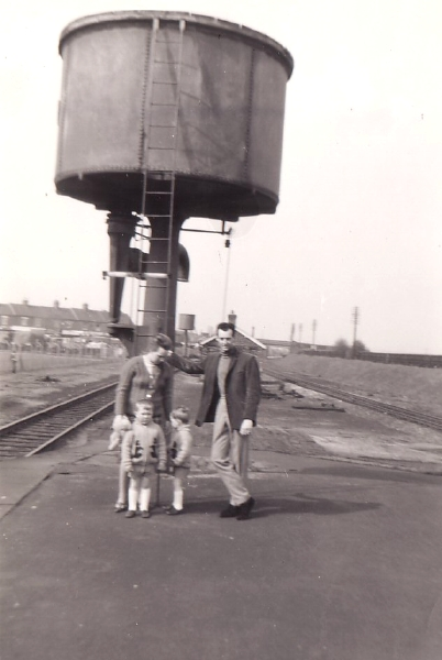 This photograph, taken on Loughborough Central Station in March 1969, shows the large water tower situated at the end of the down platform.